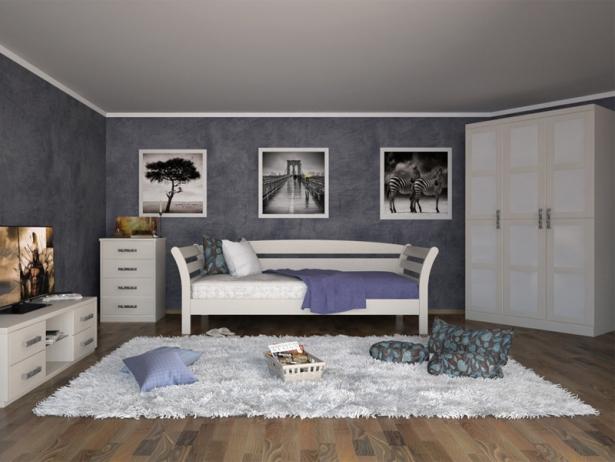 Купить белую кровать Бриз беленый дуб ясень