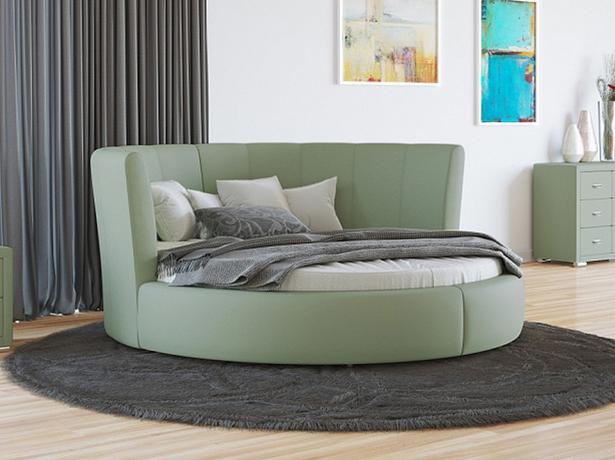 Купить круглую кровать Luna экокожа Lux