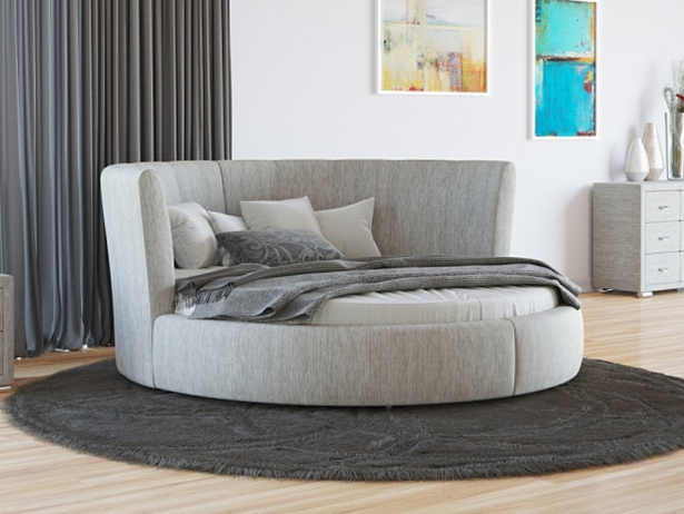 Купить круглую кровать Luna ткань Глазго Серый