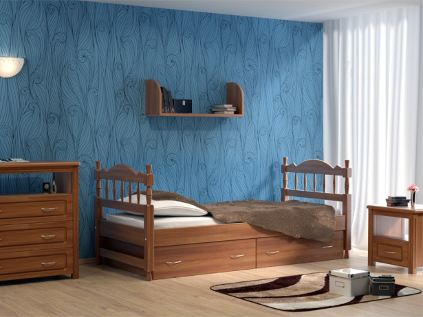Детская кровать Юниор старая вишня ясень