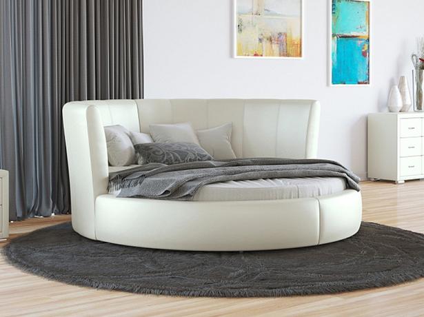 Купить круглую кровать Luna  экокожа Lux молочный перламутр