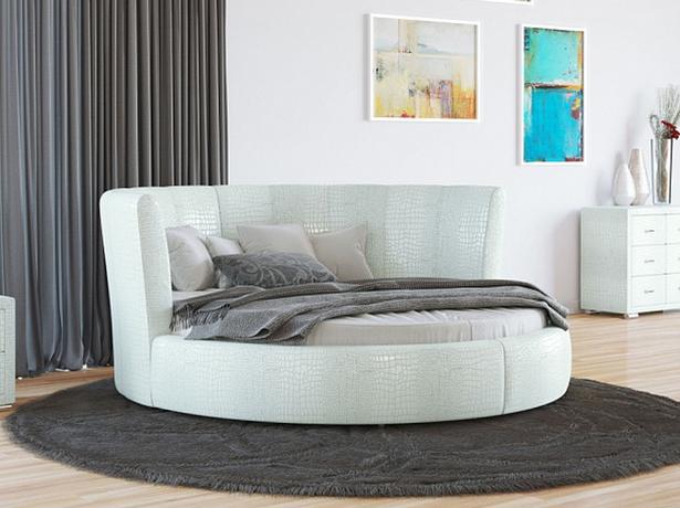 Купить круглую кровать Luna  экокожа Lux Caiman Croco