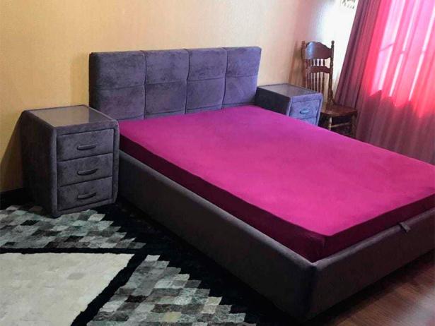 Кровать Life 1 Райтон фото  в ткани лофти Слива