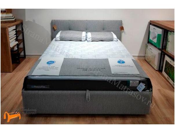 Кровать Life 1 Box Райтон фото ткань Глазго Серый
