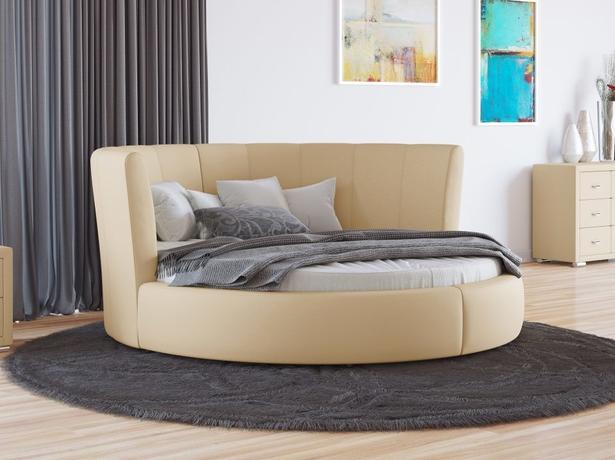 Купить круглую кровать Luna экокожа  Бежевый