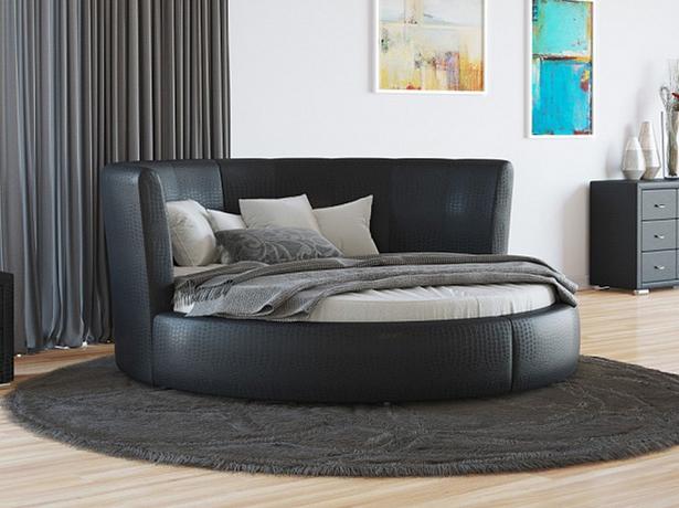 Купить круглую кровать Luna  экокожа Lux Caiman Croco черный