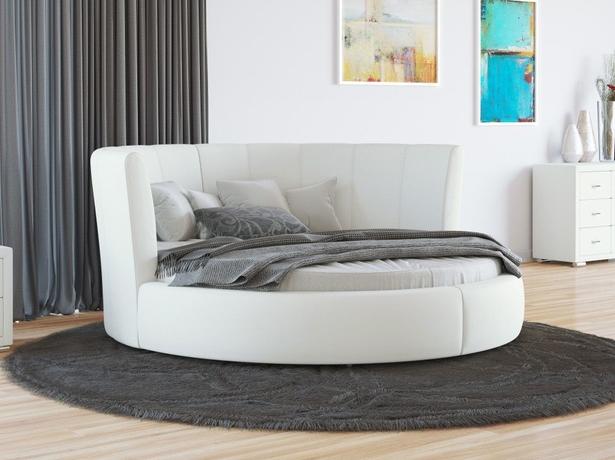 Купить круглую кровать Luna экокжа Белый