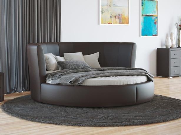 Купить круглую кровать Luna экокожа Венге