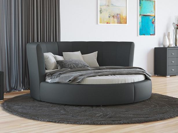 Купить круглую кровать Luna  экокожа Lux темно серый