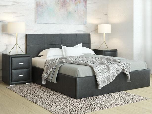 Купить черную кровать Alba