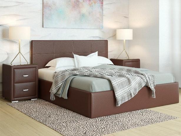 Кожаная кровать венге Alba