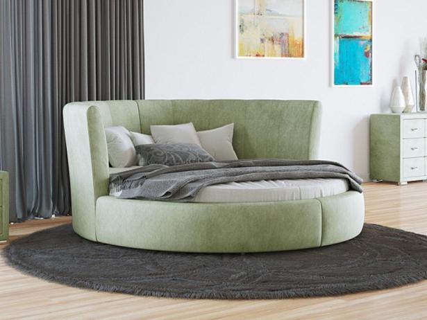 Купить круглую кровать Luna ткань Лофти Олива