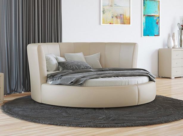 Купить круглую кровать Luna экокожа Lux бежевый перламутр